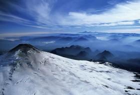 Sommet enneigé du volcan Villarrica, Chili